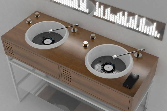 Olympia Ceramica以黑胶唱片机为原型,发布智能音乐洗手池