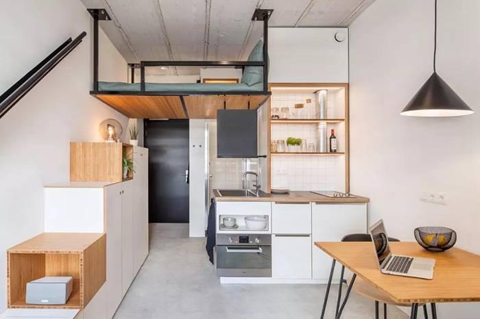 荷兰18㎡的大学宿舍,超实用的一居室设计