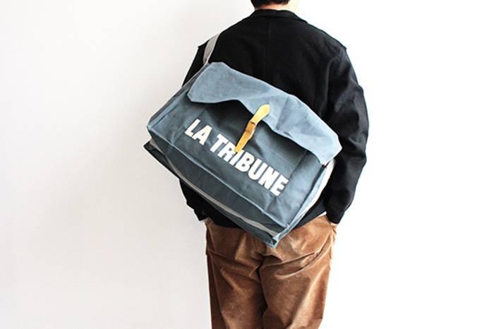 罕见的法国新闻纸袋,别致的蓝灰色日常通勤包