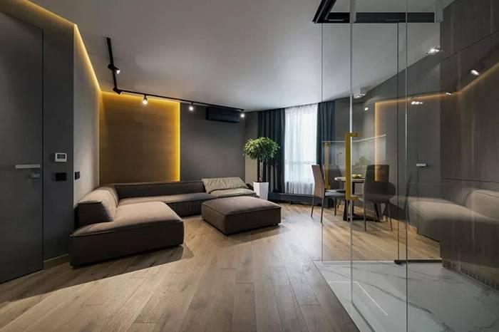 50㎡的怪异户型,L型玻璃厨房的巧妙设计