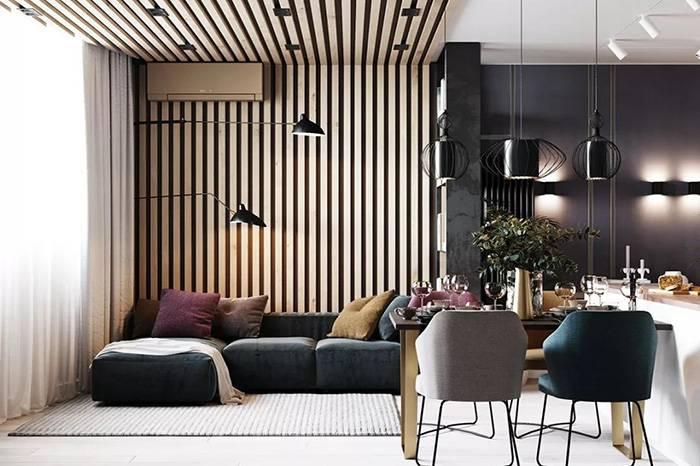 轻奢风格的温馨一居室,金属与大理石的结合突显质感