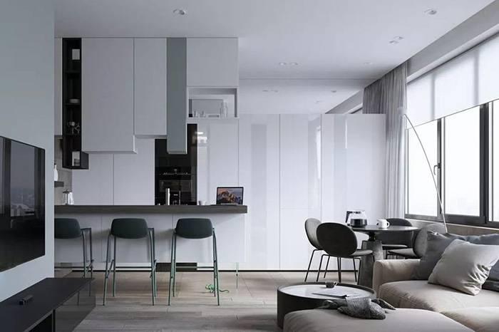100㎡的暗色系三居室,书房的设计却让人倍感温馨