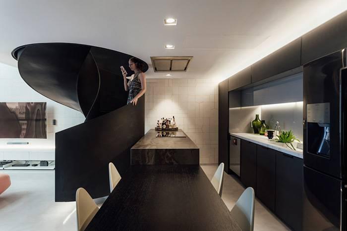 三个不同风格的家为你展现loft的旋转楼梯设计