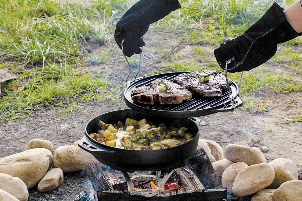 烤、炖、蒸、煮样样行,美国炊具老牌LODGE推出一款野营专用烤盘