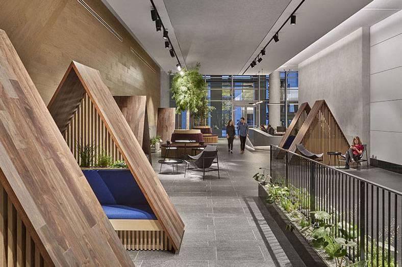 这家科技公司办公室的角落座位,设计灵感分别源自帐篷、山脉和冰川