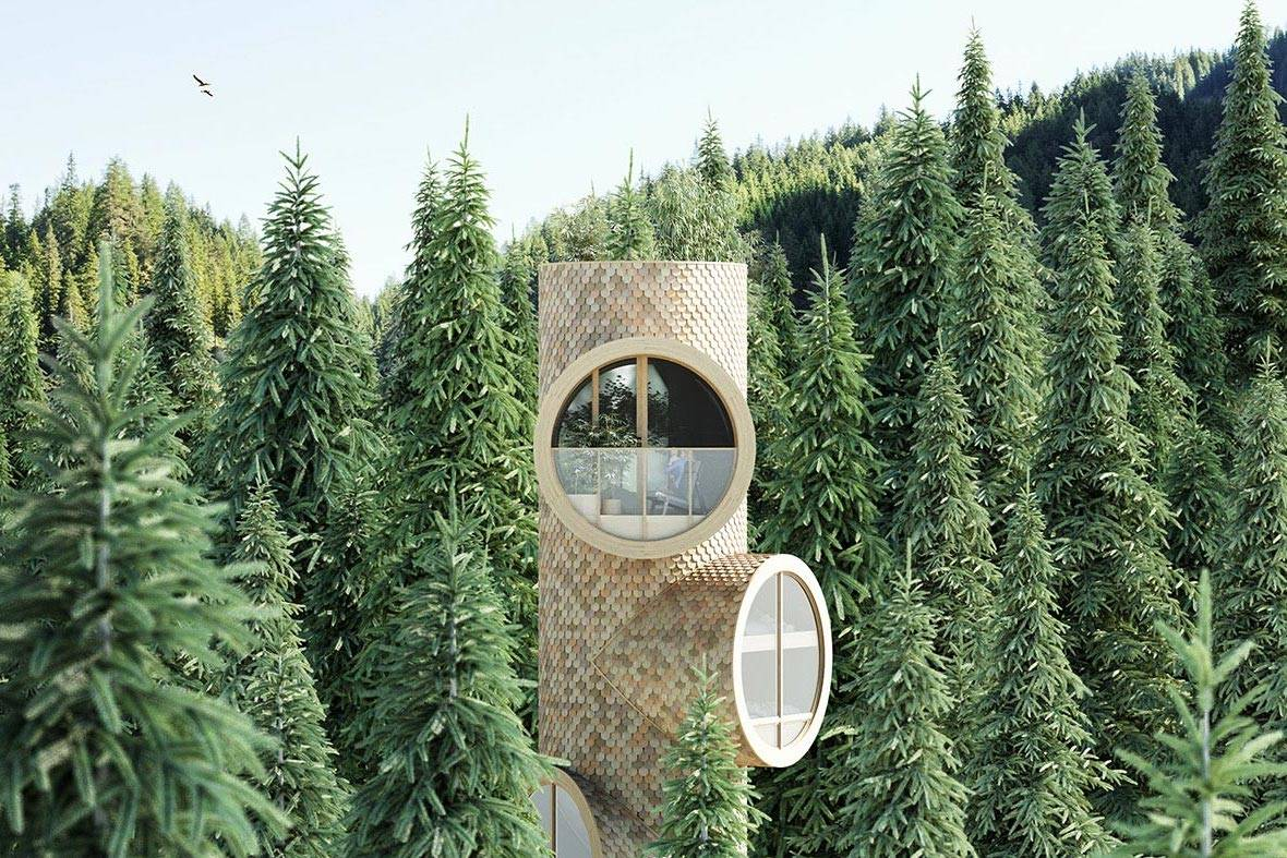 葳蕤之中的瞭望塔:模块化概念树屋Bert