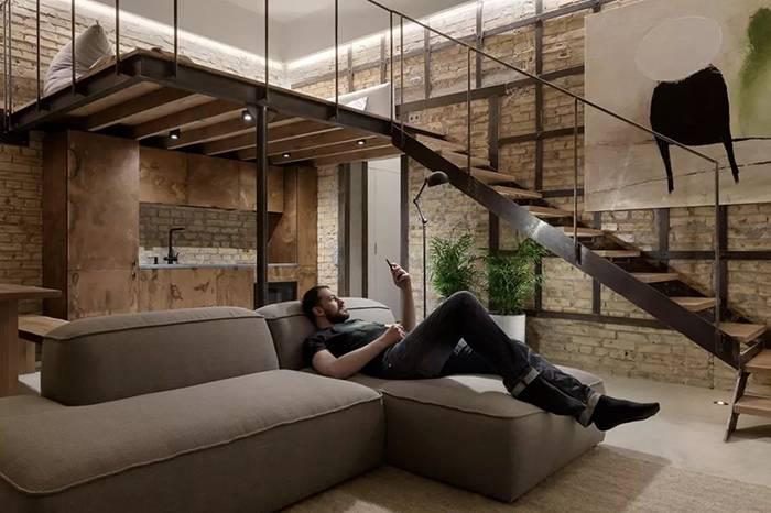 """41㎡ 的正方形 LOFT,工业风格装修让家更""""原始"""""""