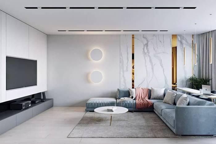 用莫兰迪灰打造的120㎡轻奢小公寓,充满现代都市韵味