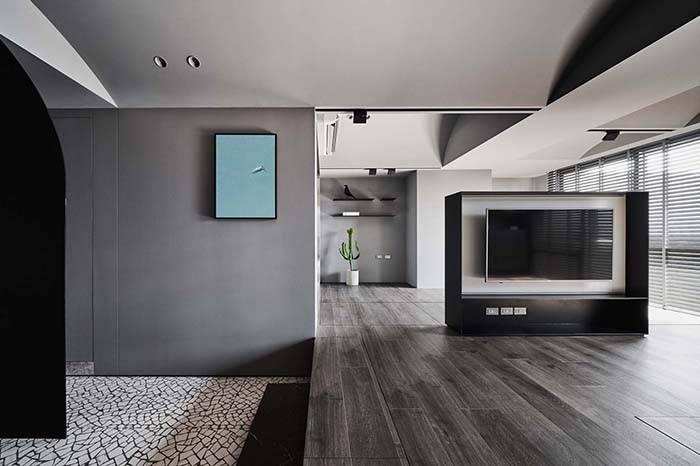 50㎡ 高级灰设计|开放式起居室让空间瞬间变大两倍!