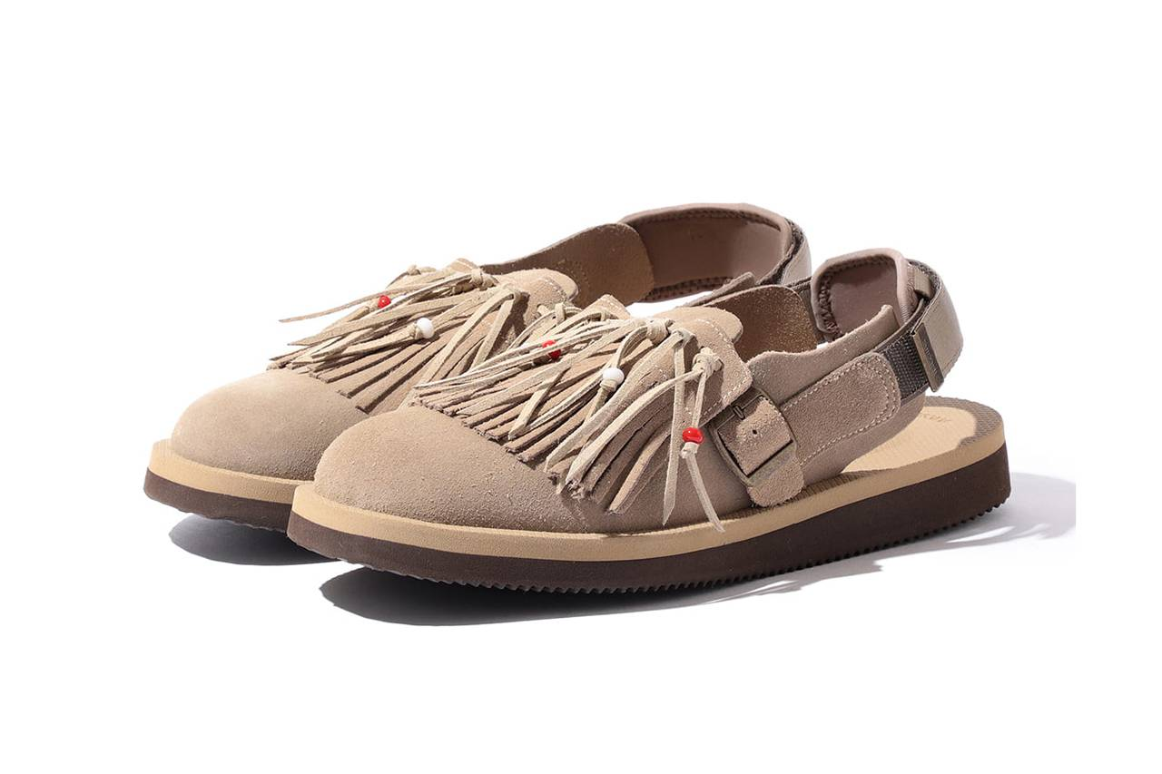 源自70s的复古流苏缀饰,BEAMS x SUICOKE联名Bespoke Fringe Sandal