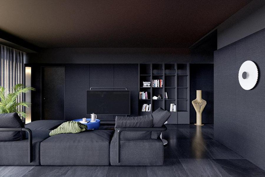 174㎡的高级黑住宅,墙面这样设计更有质感!