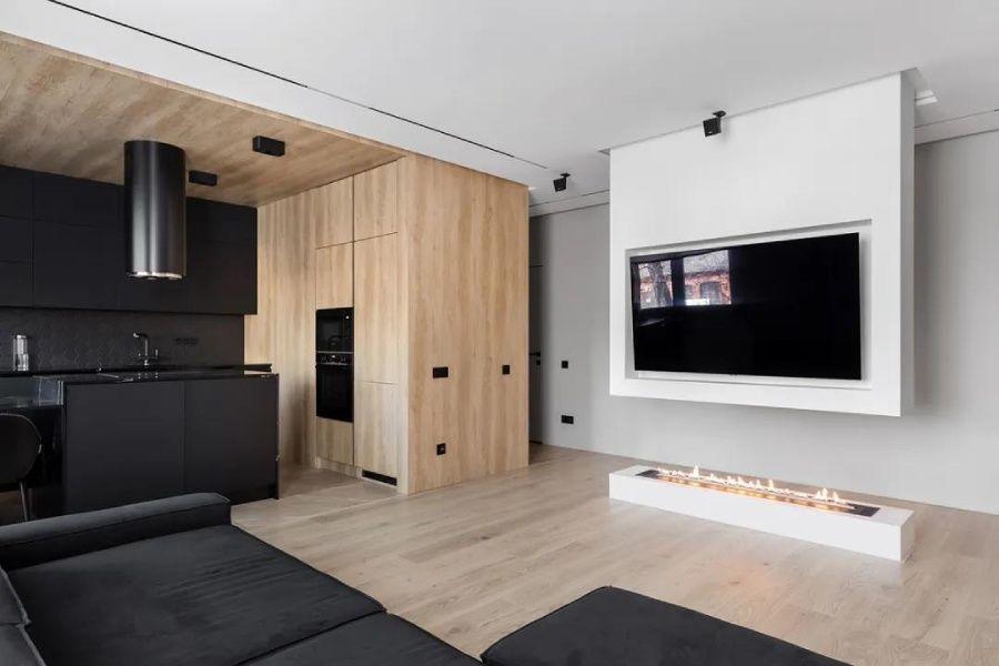 原木+高级黑,客厅电视墙这样设计太巧妙了!