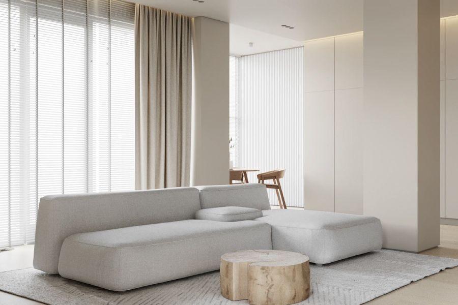 80㎡浅色系一居室,隐藏式厨房成为最大亮点!