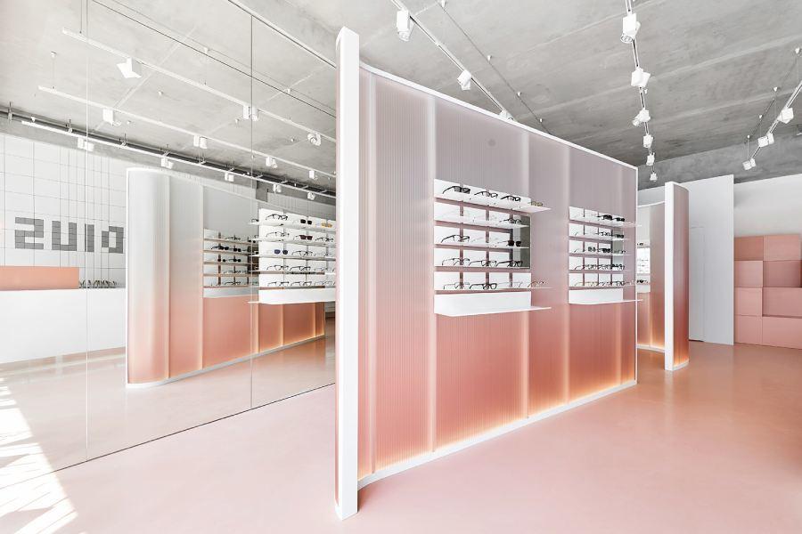 甜而不腻的橘粉色眼镜店,设计师把网红色玩得异常清爽
