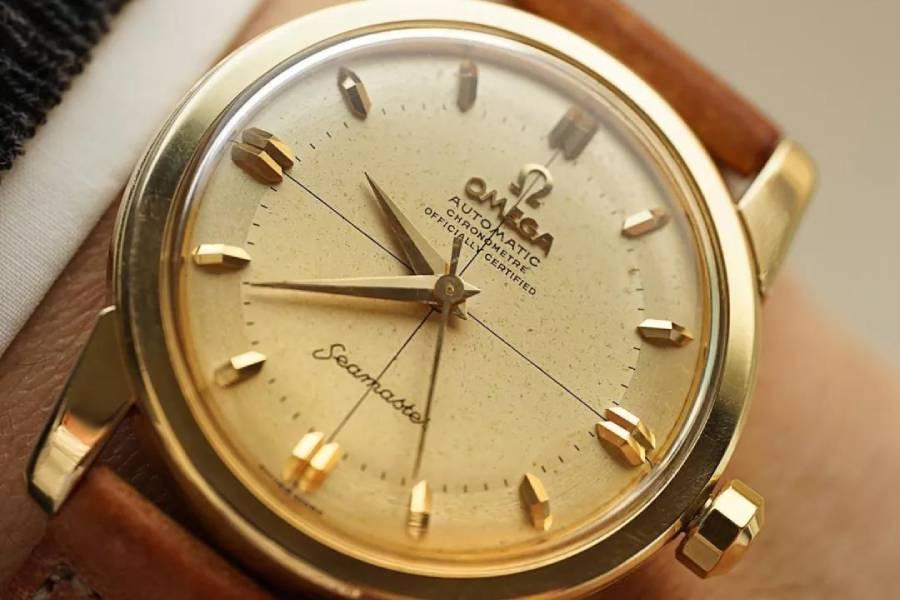 罕有的古董OMEGA海马系列男士金表,不容错过的经典!