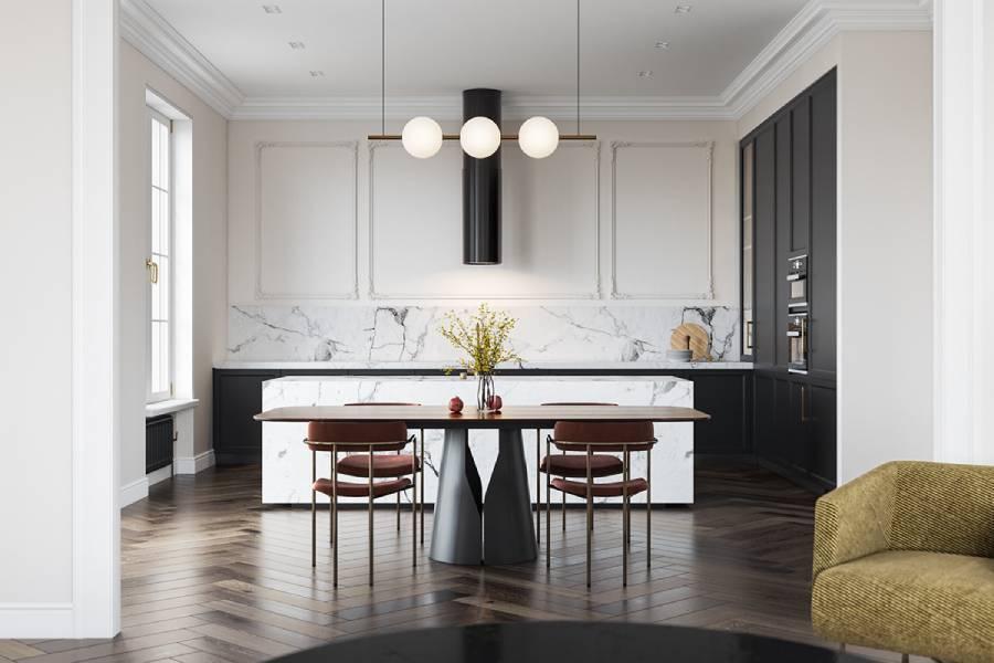 新古典主义与现代家具的结合,温暖的自然色调简约时尚