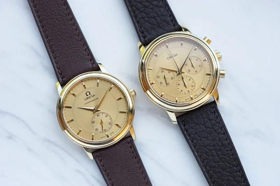 两枚优雅漂亮的OMEGA黄金腕表,散发迷人魅力